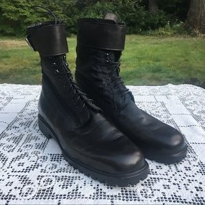 I Magnin 90s Black Lace Up Military Moto Boots NOS